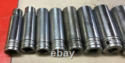 11 Piece, SNAP-ON TOOLS, 1/2 DRIVE, DEEP, 12 POINT SOCKET SET, 1/2 to 1-1/8
