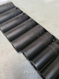 11 Piece SNAP ON TOOLS 3/8 Drive Deep Impact Socket Set 6-Point METRIC USA MADE