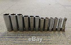 12 Pc Snap-On Metric 6-Point Deep Well 3/8 Drive Socket Set 8-19mm 212SFSMY