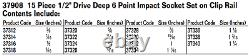 15-Piece 1/2 Drive Deep 6-Point Impact Socket Set on Clip Rail, Williams 37908