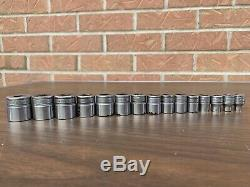15 pc Snap On 7mm-22mm Deep Well 3/8 Drive Socket Set 6 point metric FSM