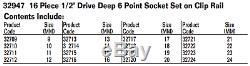16-Piece 1/2 Drive Deep 6-Point Socket Set, Metric, Williams 32947