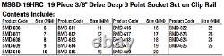 19-Piece 3/8 Drive Deep 6-Point Socket Set on Rail, Metric, Williams MSBD-19HRC