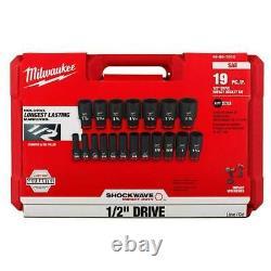 19 pc Milwaukee SHOCKWAVE Impact Duty 1/2 Drive SAE Deep 6 Point Socket Set