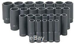 26 Pc. 1/2 Drive 6 Point Metric Deep Master Socket Set GRY-1326MD Brand New