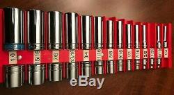 26-pc Snap On 1/4 1 Large Shallow & Deep 3/8 Drive Socket Set 6 12 point lot