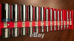 26-pc Snap On 1/4 1 Large Shallow & Deep 3/8 Drive Socket Set 6 12 point lot