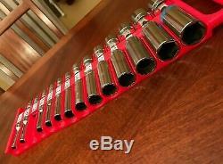 26 pc Snap On 1/4 1 Large Shallow & Deep 3/8 Drive Socket Set 6 12 point lot