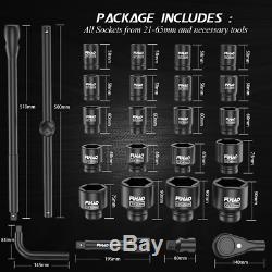 26PC 3/4 Inch Drive Deep Impact Socket Set 21-65mm 6 Point Metric Sockets USA