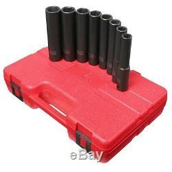 8 Piece 1/2 Drive 6 Point Extra Deep SAE Impact Socket Set Sunex Tools SUN2848