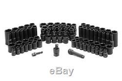 81-Piece 3/8 Drive SAE/Metric 6-Point Standard/Deep Impact Socket Set