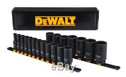 DEWALT 1/2 inch Drive SAE Standard Deep Socket Set 19 Sockets Hand Tool 6 Point