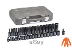 GEARWRENCH 1/2in Drive 6 point Standard & Deep Metric Impact Socket Set (39 pc)