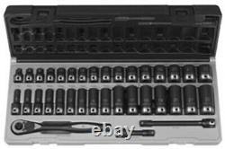 GREY PNEUMATIC 3/8 Drive 6 Point 35 PieceMetric Std & Deep Duo Skt Set GY81635M