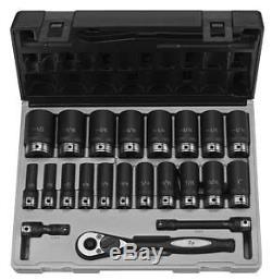 Grey Pneumatic 1/2 Drive 6 Point 22 Pc Fractional Deep Duo Socket Set