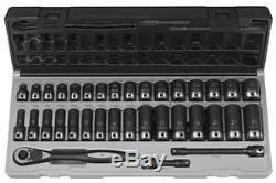 Grey Pneumatic 3/8 Drive 6 Point 35 Pc Metric Std & Deep Duo Skt Set