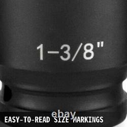 Impact Socket 43 Pcs 1/2-Inch Drive 19Pcs Deep 6-Point ASE Standard Axle Hub Nut
