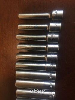 MATCO tools 1/4 Drive Metric 6 Point Deep Long Socket Set 4-15mm USA 14pc Chrome