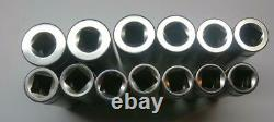 MINT Snap-On 1/2 Drive 6-Point Deep Metric Flank Drive Xtra Socket Set 12-24MM