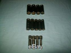 MINT Snap-on 1/2 drive 6-point Deep socket SET 3/8 thru 1 1/8 313TSYA