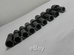 Matco 9 Piece 3/8 Drive 6 Point Metric Deep Universal Impact Socket Set withRail