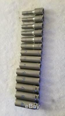 Matco SBDM146TA 3/8 Drive 14 Piece Metric 6 Point Deep Chrome Socket Set