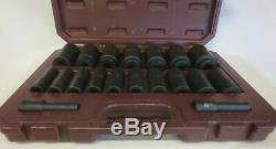 Matco Tools 1/2 Drive 19 Piece 6 Point Deep Impact Socket Set in Case SCDP196V