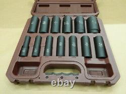 Matco Tools 13pc 1/2 Drive 6 Point SAE Deep Impact Socket Set w Case