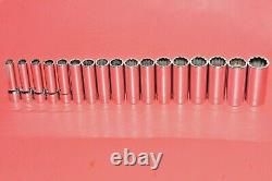 NEW Snap-On 1/2 Drive 17 Piece Deep Well 12 Point Metric 10 27mm Socket Set