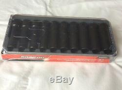 NEW Snap-On 10pc 1/2Dr 6 Point Met Flank Drive Deep Impact Socket Set 10-19mm