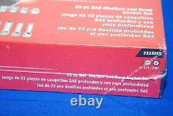 NEW Snap-on 22 Pc 3/8 Drive 6-Point SAE Flank Drive Shallow & Deep Socket Set