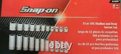NEW Snap-on 22 Piece SAE 3/8 Drive 6 Point Deep & Shallow Socket Set 222SFFS