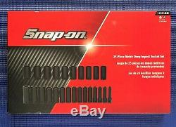 NEW Snap-on 25 Piece Metric 1/2 Drive 6 Point Deep Impact Socket Set 325SIMM
