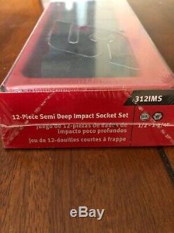 NEW Snap-on Tools USA 1/2 Drive SAE SEMI DEEP 6 Point Impact Socket Set 312IMS