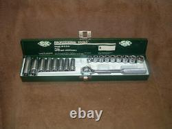 New Nos Sk 3/8 Drive Metric 6 Point Socket Set 8 Deep & 9 Shallow With Ratchet