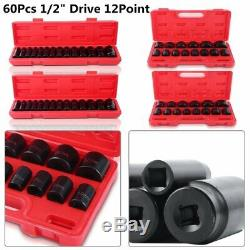 New Pro 60Pc. 1/2 Drive 6-Point DEEP/SHALLOW Impact Socket Set SAE/METRIC M