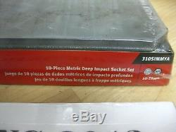 New Snap On 10 pc 1/2 Drive 6-Point Metric Deep Impact Socket Set 310SIMMYA