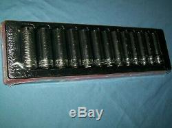 New Snap-on 1/2 drive 12 thru 24 mm 6-point FDX Deep Socket Set 313YTSMY Sealed