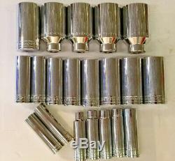 S-K 19 pc. 1/2 Drive SAE Deep 6 Point Chrome Socket Set 3/8 1-1/2, USA, NEW
