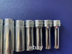 SNAP ON 11 pc 3/8 Drive 6-Point SAE Flank Drive Deep Socket Set 211SFSY