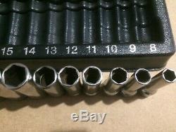 SNAP-ON 12pc 3/8 drive 6-Point Metric Deep Socket Set 8-19mm 212SFSMY