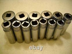 SNAP ON 13 Piece Deep Chrome Socket Set 1/2 Drive, 6 Point, 3/8 to 1-1/8 SAE