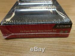 SNAP-ON 313TSMYA 13 pc 1/2 Drive 6-Point Metric Flank Drive Deep Socket Set NEW