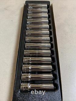 SNAP-ON 313TSMYA 13pc 1/2 Dr 6-Point Metric Flank Drive 12-24mm Deep Socket Set
