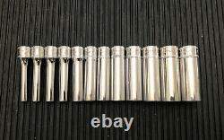 SNAP ON STMM- SERIES 12-Piece 1/4 Drive 6-Point Deep Socket Set 4-14mm USA