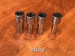 SNAP-ON TOOLS 1/4 Drive SAE 6 Point Semi Deep Sockets 9 Piece Set