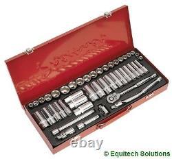Sealey AK692 3/8 Sq Drive Socket Set Metric Imperial Six Point Standard & Deep