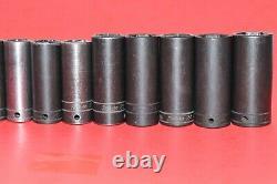 Snap-On 1/2 Drive 17 PIECE 10mm 27mm Flank 6-Point Deep Impact Socket Set