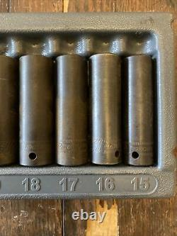 Snap On, 1/2 Drive, Deep, 12 Point, Impact Socket Set, 15-27mm, In Tray