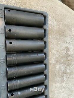 Snap On 1/2 Drive Deep Impact Socket Set, 10-19mm, 6 Point